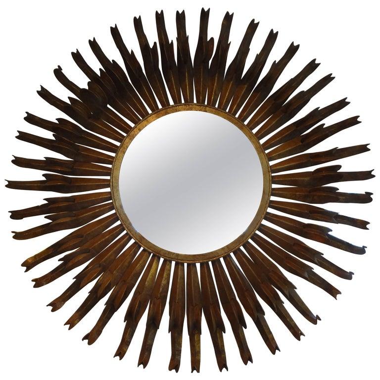 "Monumental French Gilt Metal Sunburst Mirror 50"""