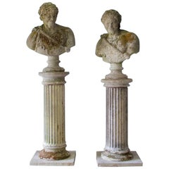Two Classical Busts on Columns