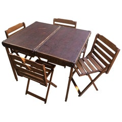 Italian Picnic Folding Table with Chairs from 1950s