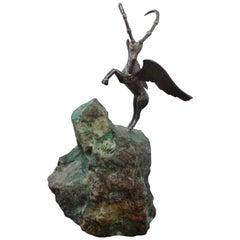 Midcentury Mythological Winged Sculpture on Stone Base