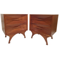 Mid-Century Modern Highly Sculpted Nightstands
