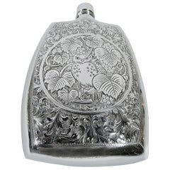 Japanese Modern Silver Flask with Owl