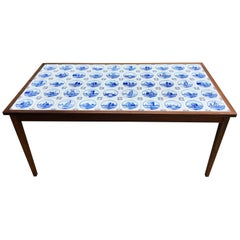 Midcentury Rosewood Occasional Table with Ceramic Tile Top by Frits Henningsen
