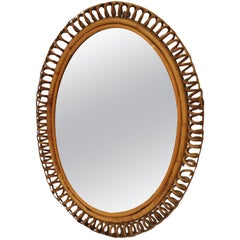 Midcentury Bamboo French Mirror