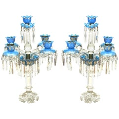 Pair of French Victorian Baccarat Crystal and Blue Opaline Five-Arm Candelabras