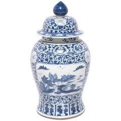 Chinese Blue and White Landscape Baluster Jar