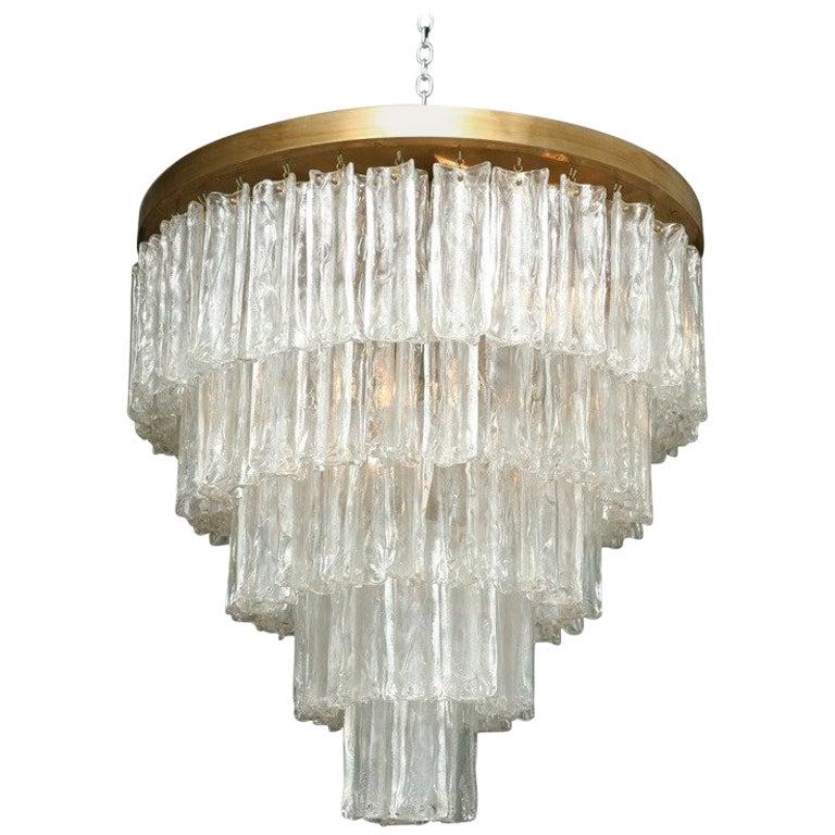 Monumental Italian Modern Glass and Brass Chandelier, Venini