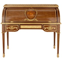 Gilt Bronze-Mounted Marquetry and Parquetry Roll Top Desk by Linke