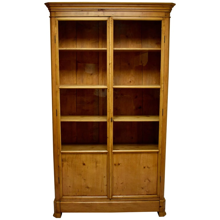 French Pine Glazed Bookcase