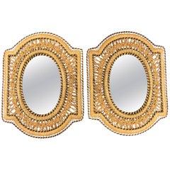 Pair of Hand Braided Wicker Rattan Mediterranean Rectangular Mirrors, Spain