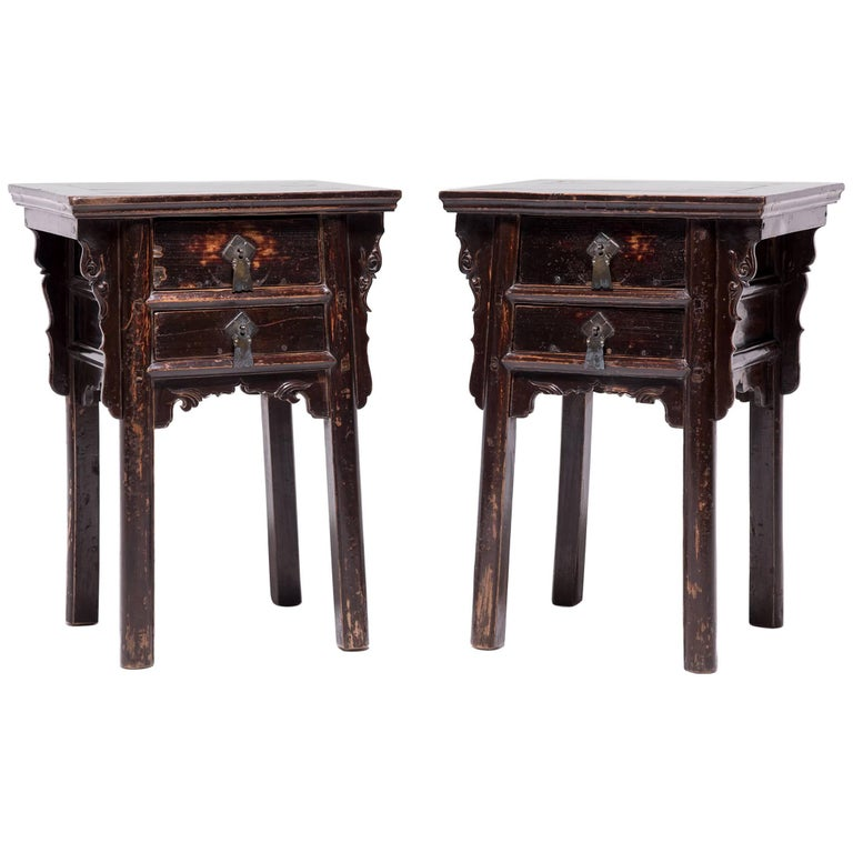 Pair of 19th Century Chinese Two-Drawer Cabinets