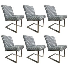 Set of Six Paul Evans Cantelivered Dining Chairs for Directional
