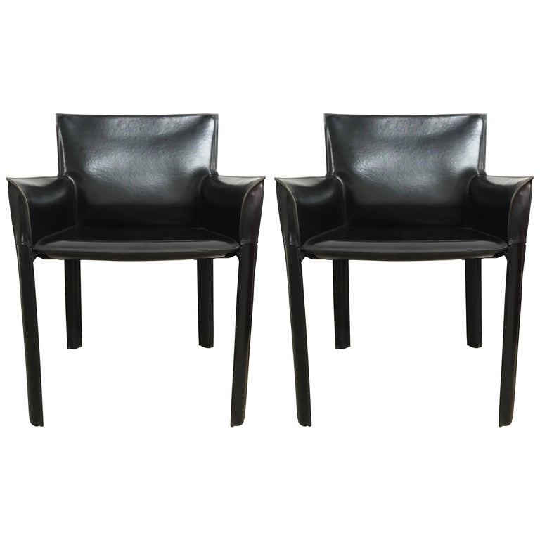 Pair of Black Brazilian Stitched Leather Armchairs by de Couro of Brazil