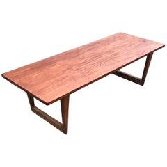Mid-Century Modern Danish Design Large Teakwood Coffee Table by Børge Mogensen
