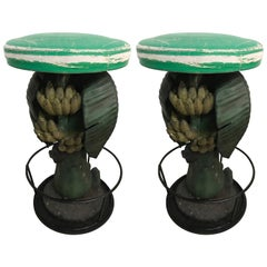 Pair of Maitland Smith Tropical Banana Tree Barstools