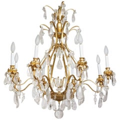 New Rock Crystal and Gold Leaf Chandelier