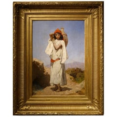 Young Water Carrier Signed J.M Desandre circa 1880, Oil on Canvas, France