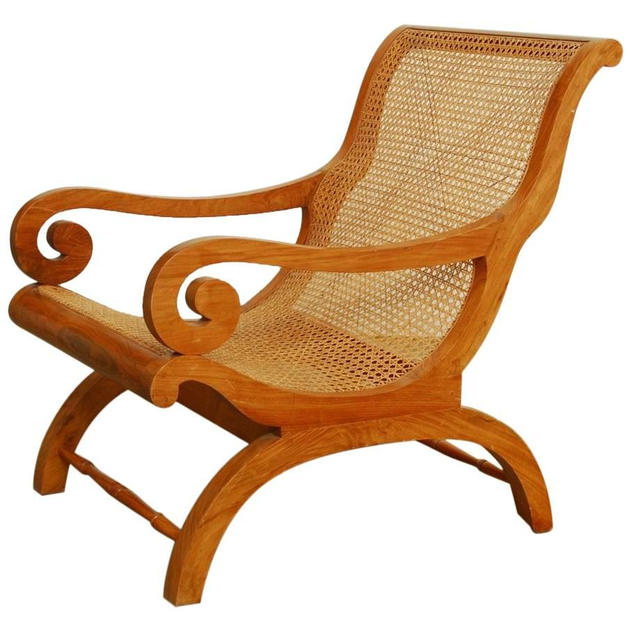 Anglo Indian Teak And Cane Plantation Chair