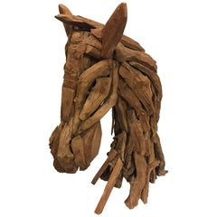 Carved Driftwood Reclaimed Wood Horse Equestrian Sculpture Modern Folk Art