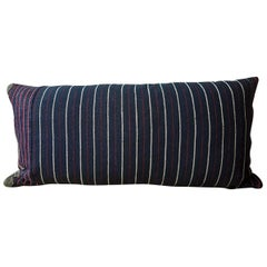 Indigo Red White Cotton Wool Striped Pillow, French, circa 1860s