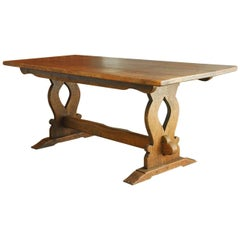 Spanish Oak Trestle Table or Library Table