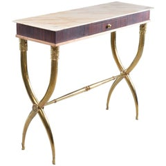 Italian Brass and Marble Neoclassical Style Console