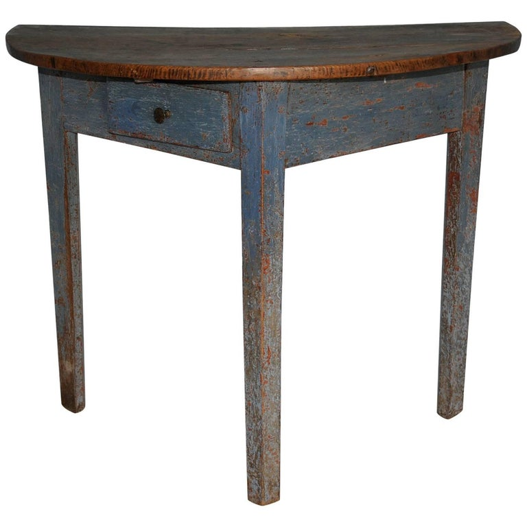 Charming Late Gustavian Demilune Console with Drawer, Swedish, circa 1810