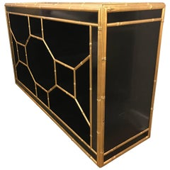 Celerie Kemble for Henredon Black & Gold Faux Bamboo Console Table Credenza Bar