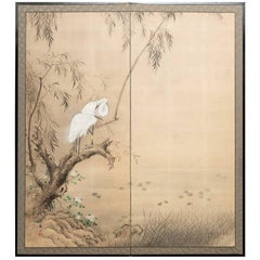 Japanese Two Panel Screen, Herons in Willow by Pond's Edge