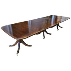 American Mahogany Three-Pedestal Regency Dining Table, circa 1900