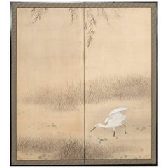 Japanese Two Panel Screen, Heron under Willow at Pond's Edge