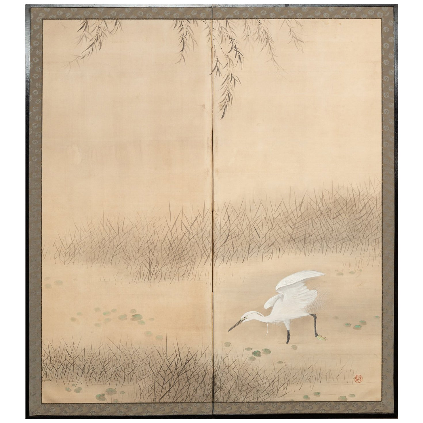 Japanese Two Panel Screen, Heron In Water Lily Pond Under Willow