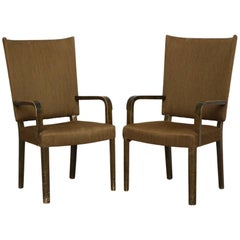 Swedish Tall Back Armchairs, Pair by Nordiska Kompaniet 'NK', circa 1930
