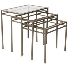 Set of Three Brass and Chrome Nesting Tables