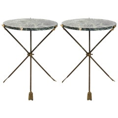 Pair of Round Marble Directoire Style Side Tables