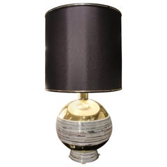 1970s Italian Unique Ceramic and Brass Table Lamp