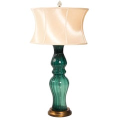 Midcentury Handblown Green Glass Table Lamp