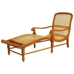 British Colonial Teak Chaise Lounge or Longue