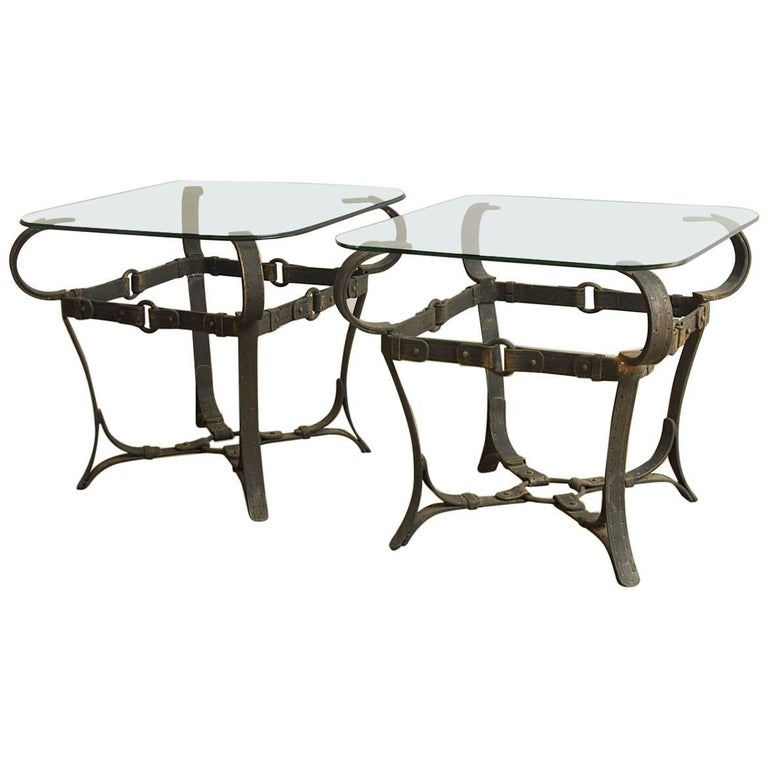 Jacques Adnet Style Cast Iron Leather Strap Tables