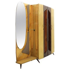 Italian Coat Hanger Armoire with Mirror, 1950s