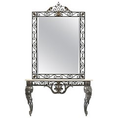 Cast Iron Demilune Console Table and Mirror