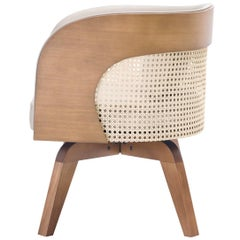 Donaire Armchair, Wooden Rotanting Feet, Cotton Natural Straw