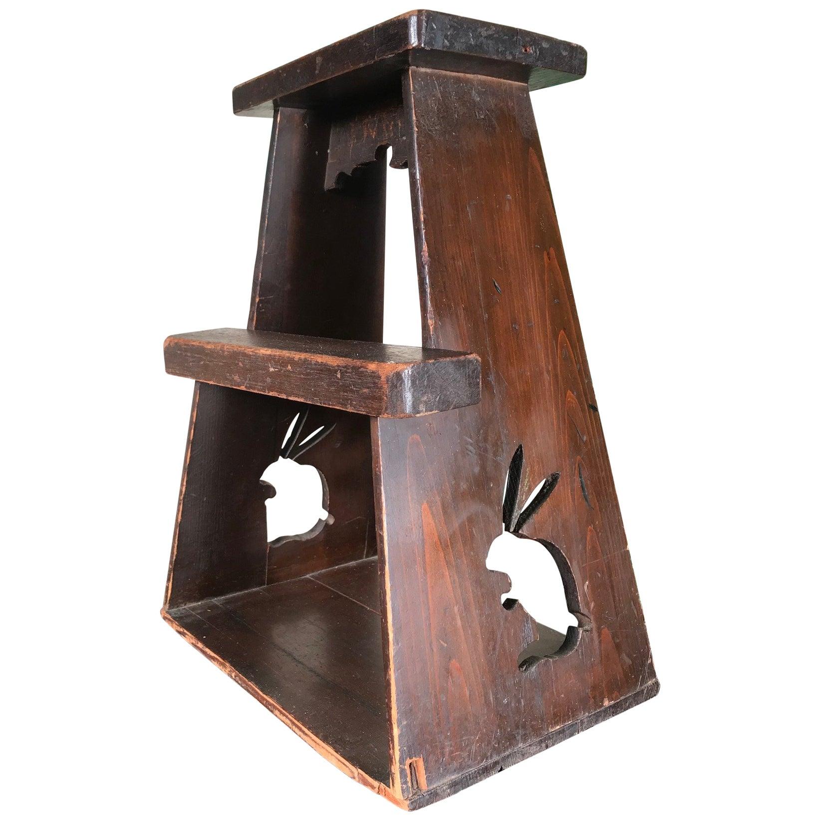"Japanese Antique ""Rabbit ""Hard Wood Step Stool, Usagi"