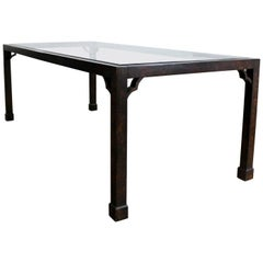 Chinoiserie Parsons Style Dining Table Faux Tortoise Shell Oil Drop Finish Glass