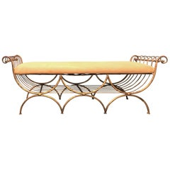 Hollywood Regency Gilt Triple X-Form Metal Window Bench or Footstool