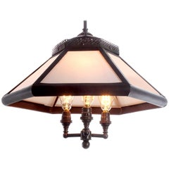 Six-Panel Gas Lamp, Copper and Milk Glass