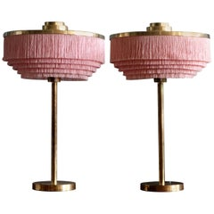 Rare Pair of Pink Hans-Agne Jakobsson Model B-138 Brass Table Lamps, 1960s