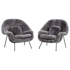 Set of Saarinen Womb Chairs Reupholstered in Shearling