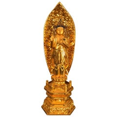 Japan Old Authentic Gold Compassionate Buddha Special Signed & Ready Home Shrine