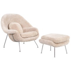 Eero Saarinen for Knoll Womb Chair and Ottoman Reupholstered in Shearling